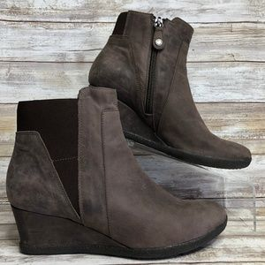 Geox Respira Gray Nubuck Leather Wedge Ankle Boots